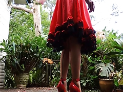 Sissy Ray outdoors in red dress part 3