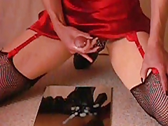Watch me cum in a shiny satin skirt