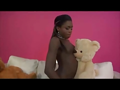 Two sweet black Tgirls solo playing