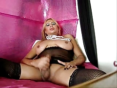 Shemale Jerks Off Huge Cum Load