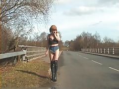 exhibitionist tranny whore - tiniest hotpants in public