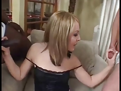 Sexy Shemale fucked in interracial treesome