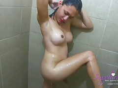 Sapphire Young takes a shower