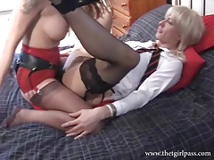 Cute blonde crossdresser fucked hard and wanked off