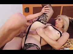 Sexy transsexual Daisy takes some huge dick