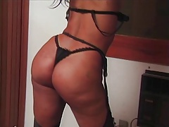 Brazilian Tgirl with huge thong ass gets fucked
